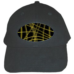 Yellow abstract warped lines Black Cap