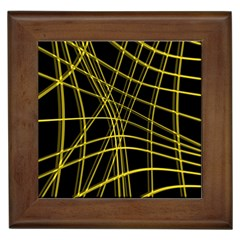 Yellow abstract warped lines Framed Tiles