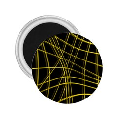 Yellow abstract warped lines 2.25  Magnets