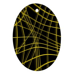 Yellow abstract warped lines Ornament (Oval)