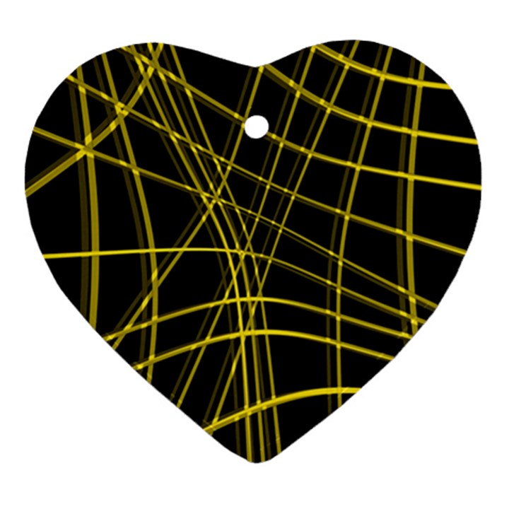Yellow abstract warped lines Ornament (Heart)