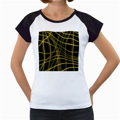 Yellow abstract warped lines Women s Cap Sleeve T