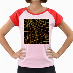 Yellow abstract warped lines Women s Cap Sleeve T-Shirt