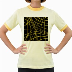Yellow abstract warped lines Women s Fitted Ringer T-Shirts