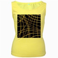 Yellow abstract warped lines Women s Yellow Tank Top
