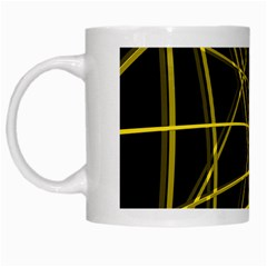 Yellow abstract warped lines White Mugs
