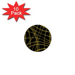 Yellow abstract warped lines 1  Mini Magnet (10 pack)