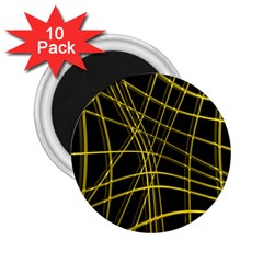 Yellow abstract warped lines 2.25  Magnets (10 pack)