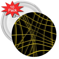 Yellow abstract warped lines 3  Buttons (10 pack)