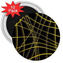Yellow abstract warped lines 3  Magnets (10 pack)