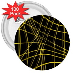 Yellow abstract warped lines 3  Buttons (100 pack)