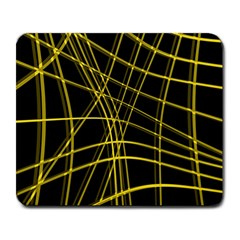 Yellow abstract warped lines Large Mousepads