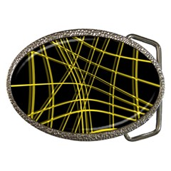 Yellow abstract warped lines Belt Buckles