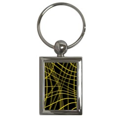 Yellow abstract warped lines Key Chains (Rectangle)