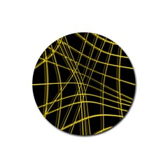 Yellow abstract warped lines Rubber Coaster (Round)