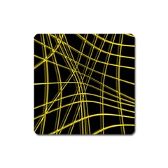Yellow abstract warped lines Square Magnet