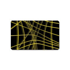 Yellow abstract warped lines Magnet (Name Card)