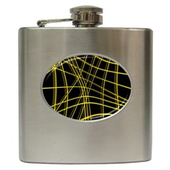 Yellow abstract warped lines Hip Flask (6 oz)