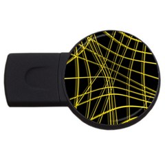 Yellow abstract warped lines USB Flash Drive Round (1 GB)
