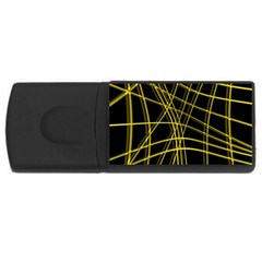 Yellow abstract warped lines USB Flash Drive Rectangular (1 GB)