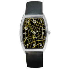 Yellow abstract warped lines Barrel Style Metal Watch
