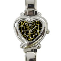 Yellow abstract warped lines Heart Italian Charm Watch