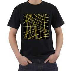 Yellow abstract warped lines Men s T-Shirt (Black) (Two Sided)