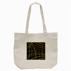 Yellow abstract warped lines Tote Bag (Cream)