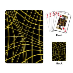 Yellow abstract warped lines Playing Card