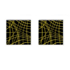 Yellow abstract warped lines Cufflinks (Square)