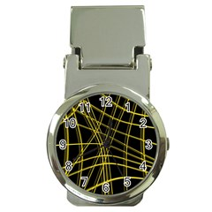 Yellow abstract warped lines Money Clip Watches