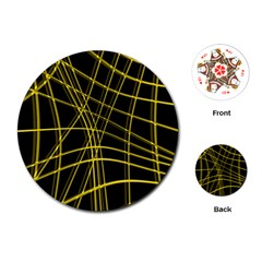 Yellow abstract warped lines Playing Cards (Round)