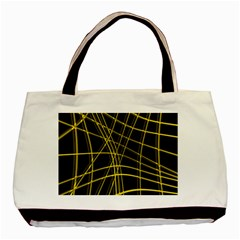 Yellow abstract warped lines Basic Tote Bag