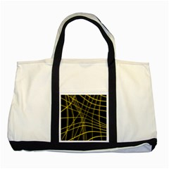 Yellow abstract warped lines Two Tone Tote Bag
