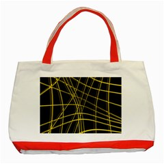 Yellow abstract warped lines Classic Tote Bag (Red)