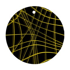 Yellow abstract warped lines Round Ornament (Two Sides)