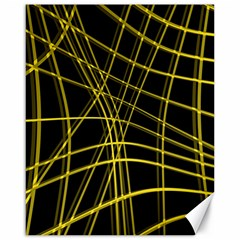 Yellow abstract warped lines Canvas 16  x 20