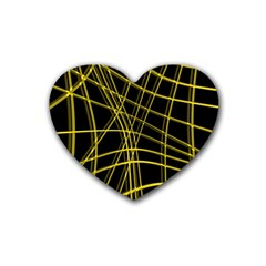 Yellow abstract warped lines Heart Coaster (4 pack)