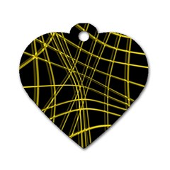 Yellow abstract warped lines Dog Tag Heart (Two Sides)