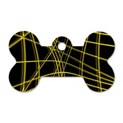 Yellow abstract warped lines Dog Tag Bone (Two Sides)