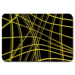 Yellow abstract warped lines Large Doormat
