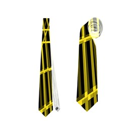 Yellow abstract warped lines Neckties (Two Side)
