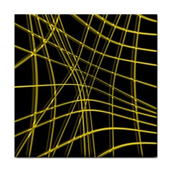 Yellow abstract warped lines Face Towel