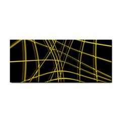 Yellow abstract warped lines Hand Towel