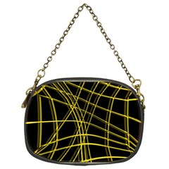 Yellow abstract warped lines Chain Purses (One Side)