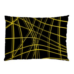 Yellow abstract warped lines Pillow Case