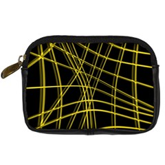 Yellow abstract warped lines Digital Camera Cases