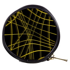 Yellow abstract warped lines Mini Makeup Bags