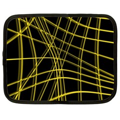 Yellow abstract warped lines Netbook Case (XL)