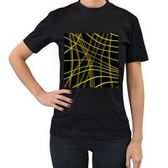 Yellow abstract warped lines Women s T-Shirt (Black)